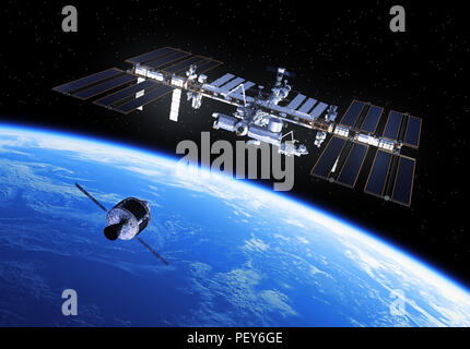 Crew Exploration Vehicle Is Preparing To Dock With International Space Station. 3D Illustration. - Stock Photo