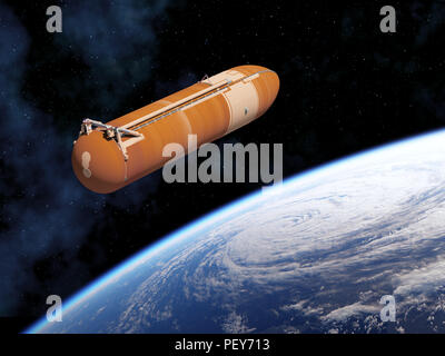 Space Shuttle External Tank In Space. 3D Illustration. - Stock Photo