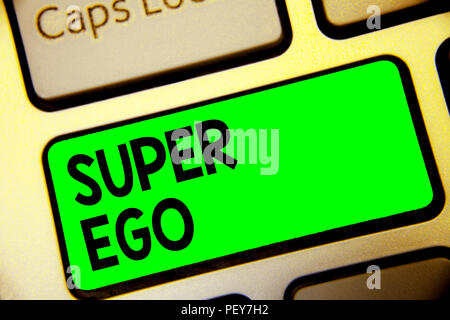 Word writing text Super Ego. Business concept for The I or self of any person that is empowering his whole soul Keyboard green key Intention create co - Stock Photo
