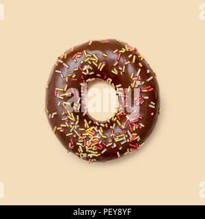 Chocolate doughnut with sugar strands, studio shot. - Stock Photo