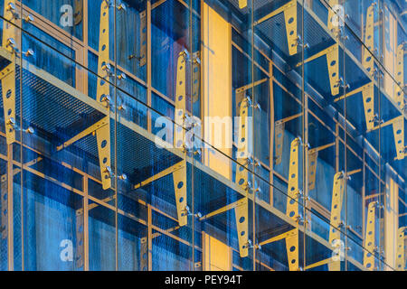 Glass Curtain Facade Wall. Fasteners Elements of Spider Glass System. Facade Detail. Architecture Abstract Background. - Stock Photo