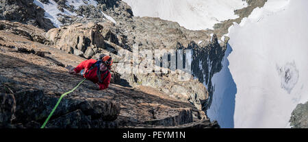 A climber on the South East ridge of L'Eveque in the Valais Alps - Stock Photo