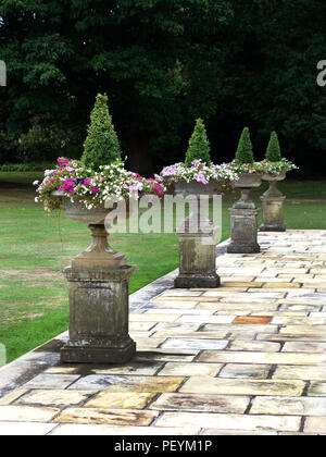 Grecian Stone Urns on very large areas of wonderful old real Yorkstone slabs around a private large home in Yorkshire. Property released - Stock Photo