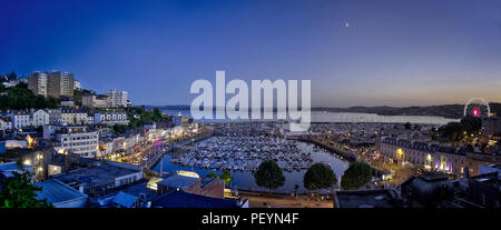 GB - DEVON: Panoramic view of Torquay Harbour by night  (HDR-image) - Stock Photo
