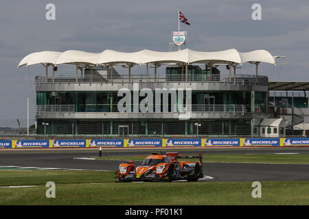 Silverstone, UK. 17th August 2018. The #26 G-Drive Racing Oreca 07 Gibson of Roman Rusinov, Andrea Pizzitola and Jean-Eric Vergne during practice for the European Le Mans Series 4 Hours of Silverstone, at Silverstone, UK Credit: James Hancock/Alamy Live News - Stock Photo