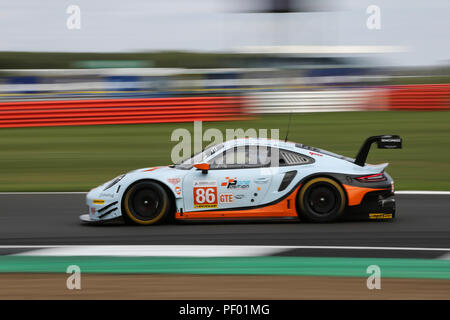 Silverstone, UK. 17th August 2018. The #86 Gulf Racing Porsche 911 RSR of Michael Wainwright, Ben Barker and Alex Davison during practice for the European Le Mans Series 4 Hours of Silverstone, at Silverstone, UK Credit: James Hancock/Alamy Live News - Stock Photo