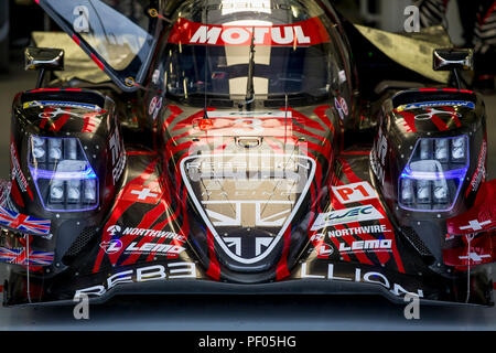 Silverstone Circuit, UK. 18th Aug, 2018. FIA World Endurance Championship; The Rebellion R13 Gibson LMP1 racing car from Rebellion Racing (CHE) in the pits driven by Neel Jani (CHE) Andre Lotterer (DEU) and Bruno Senna (BRA) during Free Practice 3 of Round 3 of the FIA World Endurance Championship at Silverstone Credit: Action Plus Sports/Alamy Live News - Stock Photo