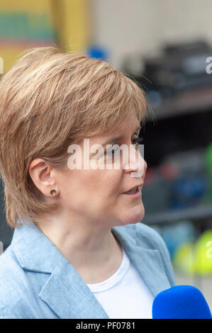 Glasgow, Scotland, UK. 18th August, 2018. The first minister of Scotland Nicola Sturgeon MSP attends the Govanhill International Festival & Carnival at Queen's Park Arena. Credit: Skully/Alamy Live News - Stock Photo