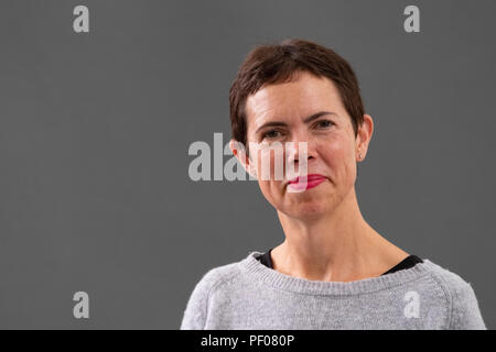 """Edinburgh, Scotland, UK; 18 August, 2018. Pictured; Hilary Cottam is an innovator and social entrepreneur.Her book """"Radical Help"""" argues that human relationships will be the driver of a brave, practical and affordable system of social support for the 21st century Credit: Iain Masterton/Alamy Live News - Stock Photo"""