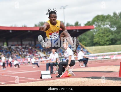 Birmingham, UK. 18th August 2018. Tajay Gayle (JAM) in Men's Long Jump during 2018 IAAF Diamond League - Birmingham at Alexander Stadium on Saturday, 18 August 2018. BIRMINGHAM, ENGLAND. Credit: Taka G Wu Credit: Taka Wu/Alamy Live News - Stock Photo
