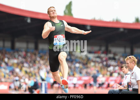 Birmingham, UK. 18th August 2018. Greg Rutherford competes his final Men's Long Jump during 2018 IAAF Diamond League - Birmingham at Alexander Stadium on Saturday, 18 August 2018. BIRMINGHAM, ENGLAND. Credit: Taka G Wu Credit: Taka Wu/Alamy Live News - Stock Photo