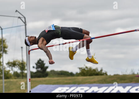Birmingham, UK. 18th August 2018. Jeron Robinson (USA) in Men's High Jump during 2018 IAAF Diamond League - Birmingham at Alexander Stadium on Saturday, 18 August 2018. BIRMINGHAM, ENGLAND. Credit: Taka G Wu Credit: Taka Wu/Alamy Live News - Stock Photo