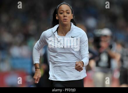 Birmingham, UK. 18th August 2018. Katarina Johnson-Thompson (GBR) in the womens long jump. Muller Grand Prix Birmingham. Diamond league. Alexander Stadium. Perry Bar. Birmingham. UK. 18/08/2018. Credit: Sport In Pictures/Alamy Live News - Stock Photo
