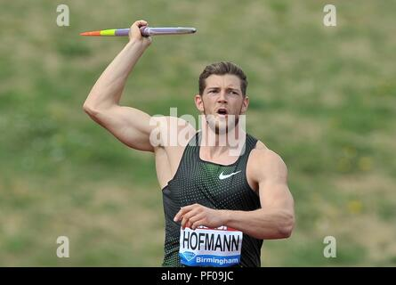 Birmingham, UK. 18th August 2018. Andreas Hofmann (GER) in the mens javelin. Muller Grand Prix Birmingham. Diamond league. Alexander Stadium. Perry Bar. Birmingham. UK. 18/08/2018. Credit: Sport In Pictures/Alamy Live News - Stock Photo