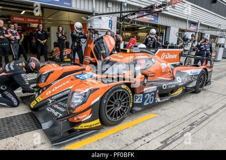 Silverstone Circuit, UK. 18th Aug, 2018. FIA European Le Mans Series Championship; The Oreca 07 Gibson LMP2 racing car from G Drive Racing Team (RUS) driven by Roman Rusinov (RUS) Andrea Pizzitola (FRA) and Jean Eric Vergne (FRA) during its final pit stop before going on to win Round 4 of the FIA European Le Mans Series Championship at Silverstone Credit: Action Plus Sports/Alamy Live News - Stock Photo