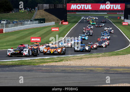 Cars formate for the start of the European Le Mans Series 4 Hours of Silverstone - Stock Photo