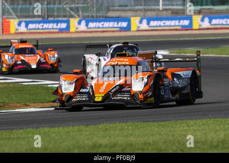 The #26 G-Drive Racing Oreca 07 Gibson of Roman Rusinov, Andrea Pizzitola and Jean-Eric Vergne during the European Le Mans Series 4 Hours of Silverstone, at Silverstone, UK - Stock Photo