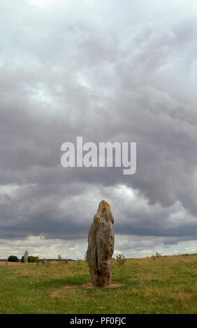 Avebury, a monument containing three stone circles, around the village of Avebury in Wiltshire, in southwest England. - Stock Photo