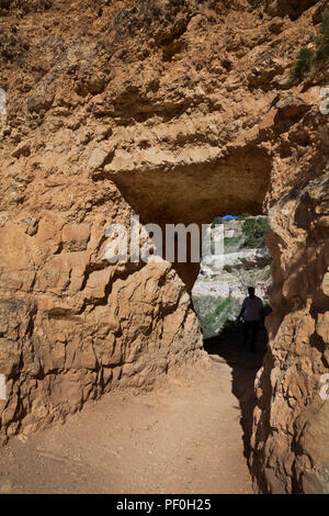 AZ00298-00...ARIZONA - Tunnel through a rock rib near the top of the Bright Angel Trail in Grand Canyon National Park. - Stock Photo