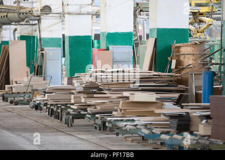 Woodworking plant. Workshop on processing of dreshes - Stock Photo