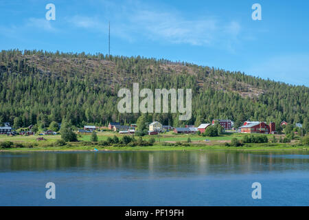 View from Pello in northern Finland across Torne river towards Sweden on a sunny summer day in August 2018 - Stock Photo