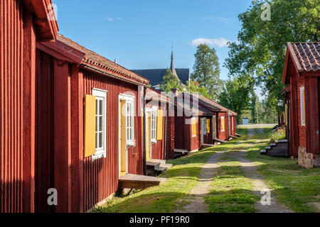 Lövånger church town in northern Sweden dates back to the 17th century and consists of 117 cottages of which many are used for hostel lodging. - Stock Photo