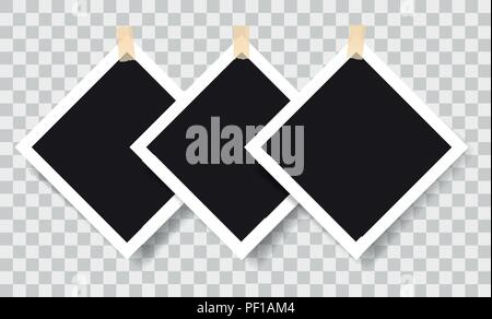 Realistic photo frames with adhesive tapes, vector illustration on transparent background - Stock Photo
