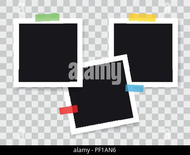 Realistic photo frames with color adhesive tapes, vector illustration on transparent background - Stock Photo