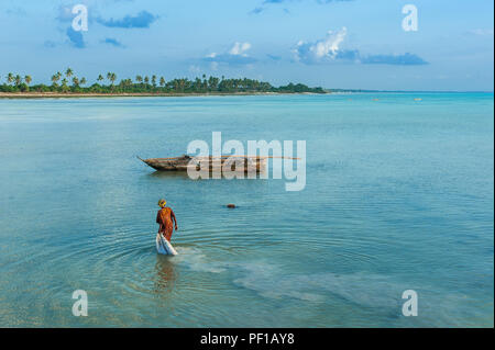 Local woman collects algae in the ocean on the island of Zanzibar, Jambiani beach. The life and work of local residents. - Stock Photo