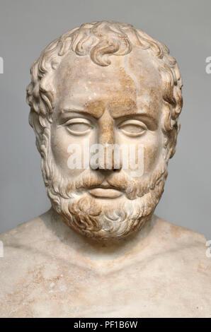 Marble head of Aischines (Athenian orator: c390-c314) British Museum, Bloomsbury, London, England, UK. Roman copy from Bitolia, Macedonia. - Stock Photo