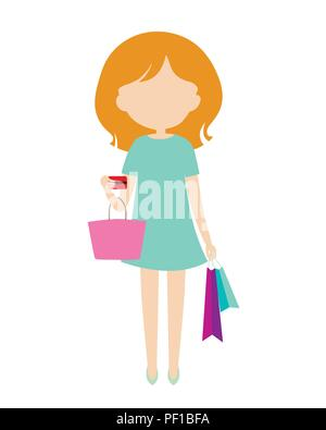 Young woman in green dress stands and holds shopping bags and credit card while shopping. Flat design, vector - isolated on white background - Stock Photo