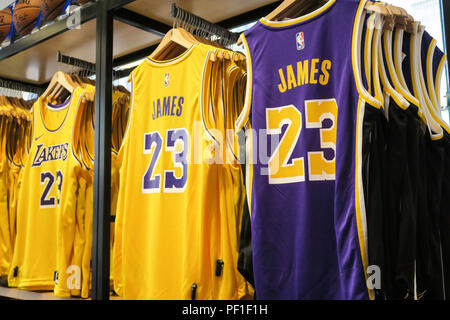 d72b90e6acb Lebron James and Lakers Branded Merchandise at the NBA Store on Fifth  Avenue