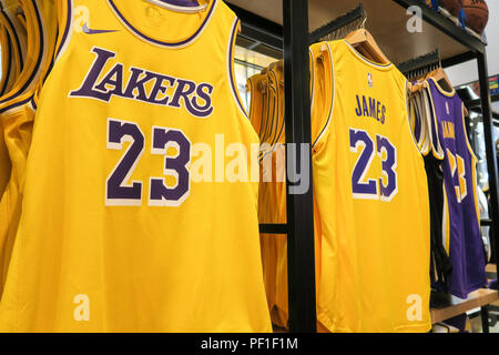 reputable site 58c46 fa4f6 Lebron James and Lakers Branded Merchandise at the NBA Store ...