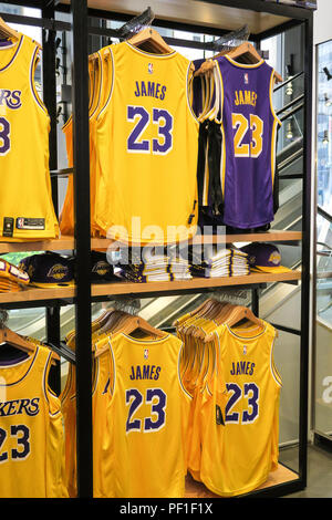 reputable site 40b15 d4272 Lebron James and Lakers Branded Merchandise at the NBA Store ...