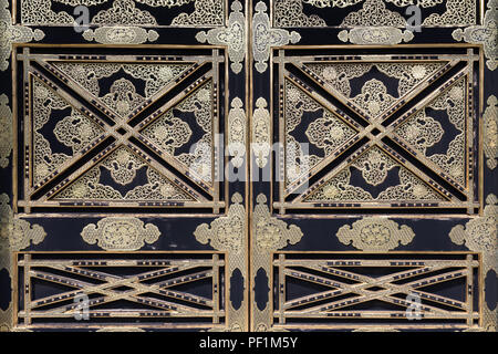Ornamental doors at Kenchoji Temple, one of Kamakura's five great Zen temples; Kanagawa Prefecture, Japan - Stock Photo