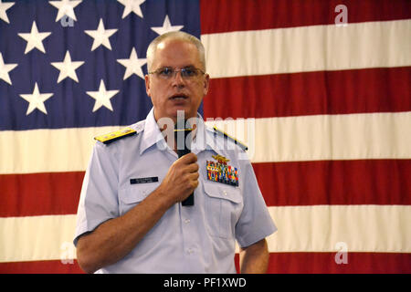 Rear Adm. Scott Buschman, commander Coast Guard Seventh District, Miami, speaks to crew members from  Air Station Clearwater, Fla., before an awards ceremony at the station Feb. 24, 2016. During the event, four aircrew members from the station were awarded the Coast Guard Air Medal for saving 12 lives during Hurricane Joaquin. (U.S. Coast Guard photo by Auxiliarist Joe Perez) - Stock Photo