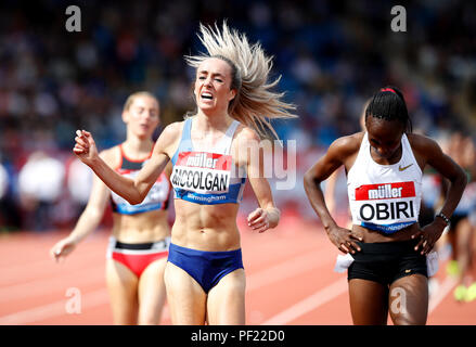 Great Britain's Eilish McColgan finishes fourth in the Women's 3000m during the Muller Grand Prix at Alexander Stadium, Birmingham. - Stock Photo