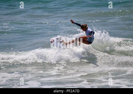 Pauline Ado competing in the US Open of Surfing 2018 - Stock Photo
