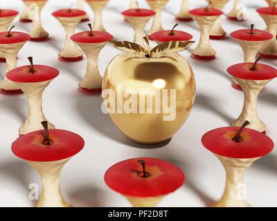 Golden apple standing out among eaten apple cores. 3D illustration. - Stock Photo