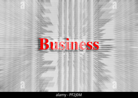 Business written in red with a newspaper article blurred in the background - Stock Photo