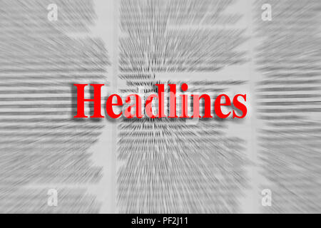 Headlines written in red with a newspaper article blurred in the background - Stock Photo