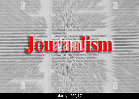 Journalism written in red with a newspaper article blurred in the background - Stock Photo