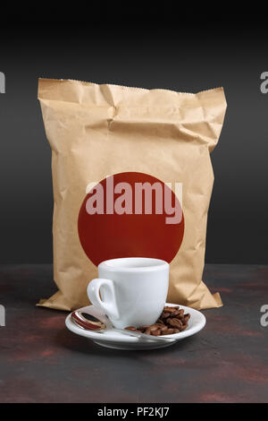 Cup of coffee and vacuum coffee package. Pack template for your design and branding. - Stock Photo