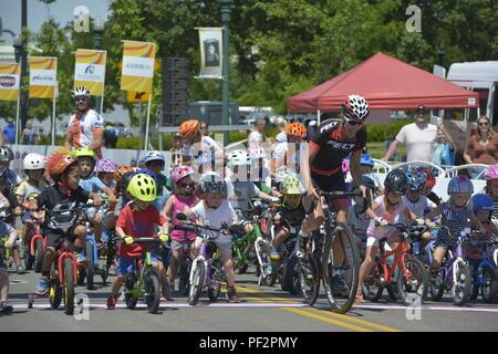 Twilight Criterium, 2018, Kids Race, Kristin Armstrong, Boise, Idaho, USA - Stock Photo