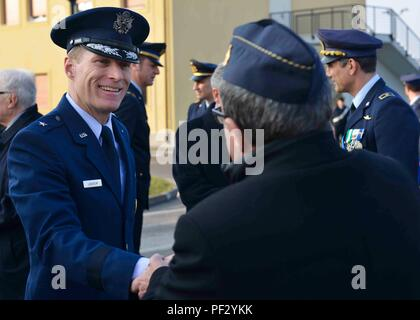The Italian Royal Air Force was created on March 28, 1923, which became the Aeronautica Militare (Italian Air Force) later. Brig. Gen. Lance Landrum, 31st Fighter Wing commander, attended the ceremony commemorating the event. (U.S. Air Force photo by Staff Sgt. Austin Harvill) - Stock Photo