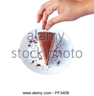Traditional Austrian sachertorte on round plate on white background with Choco Shavings, Prepared on White Plate. View from above with Human Hand - Stock Photo