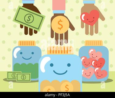 hands with money heart in jar glass charity - Stock Photo