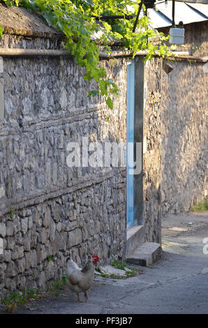 Traditional houses in Sheki's old town, northern Azerbaijan - Stock Photo