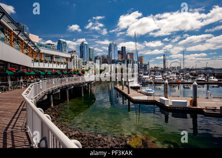 View of Seattle's Waterfront from Bell Street Pier and Conference Center at Pier 66 - Seattle, Washington, USA - Stock Photo