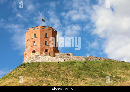 Tower Of Gediminas in Vilnius, Lithuania. Historic symbol of the city of Vilnius and of Lithuania. Upper Vilnius Castle Complex. Tourists Destination. - Stock Photo